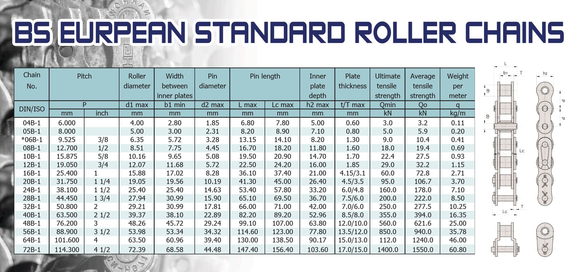 BS Eurpean Standard Roller Chains โซ่ขับมาตรฐานยุโรป