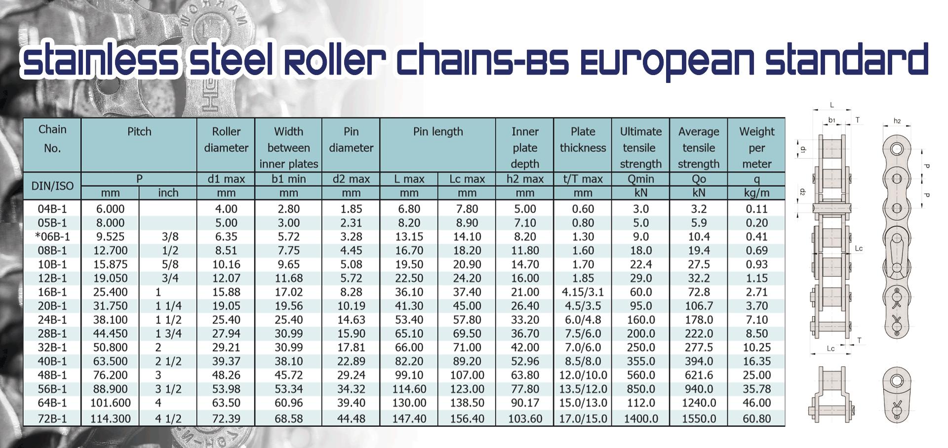 Stainless Steel Roller Chains-BS European Standard (โซ่ขับสแตนเลส มาตรฐานยุโรป)